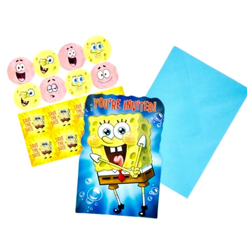 Spongebob Squarepants birthday party invitations pack 8 includes envelopes and save the date seals