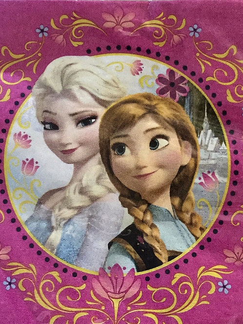 1 x pack 16 Disney Frozen girls birthday party paper disposable napkins lunch size | Elsa Anna party napkins