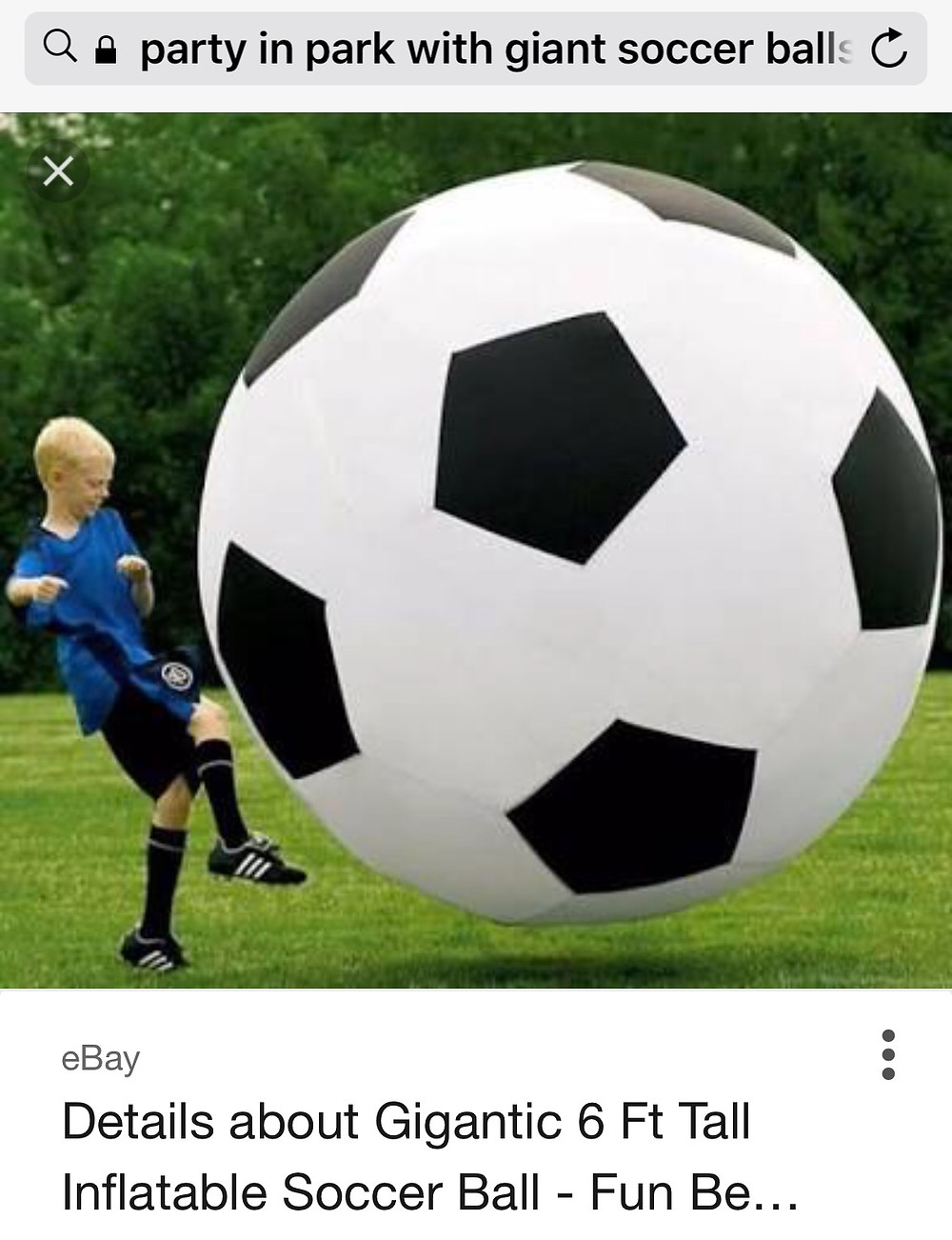 How much fun would this be kicking a Giant Soccer Ball around in the park - buy or hire from EBAY