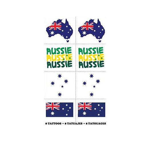 Australia Day temporary tattoos, Aussie Aussie Aussie temporary tattoos