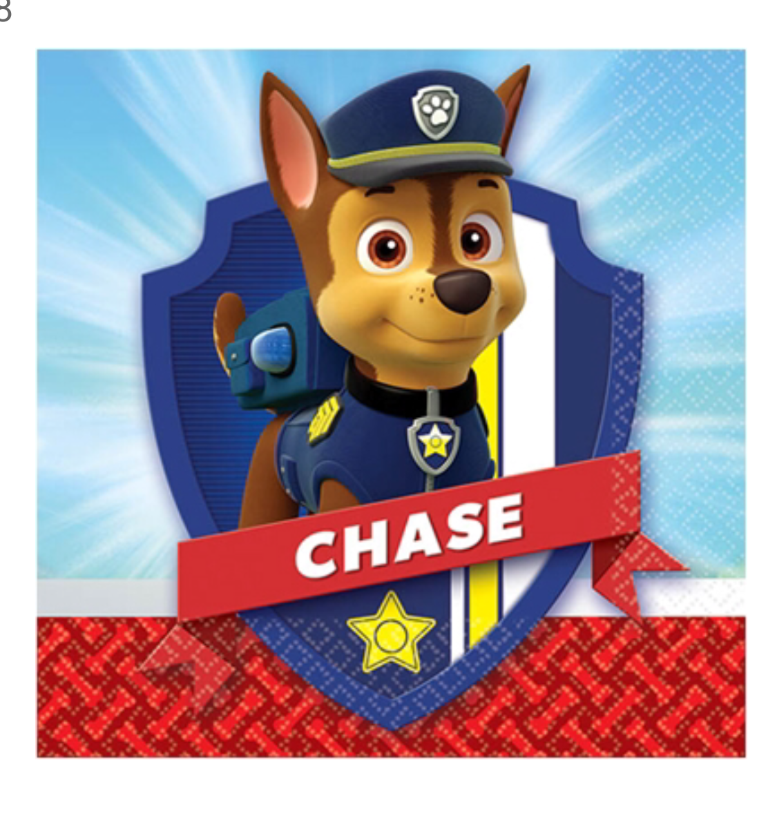 Paw Patrol paper party napkins Snack Size featuring Chase