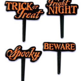 Halloween party FRIGHT cupcake picks pack 10