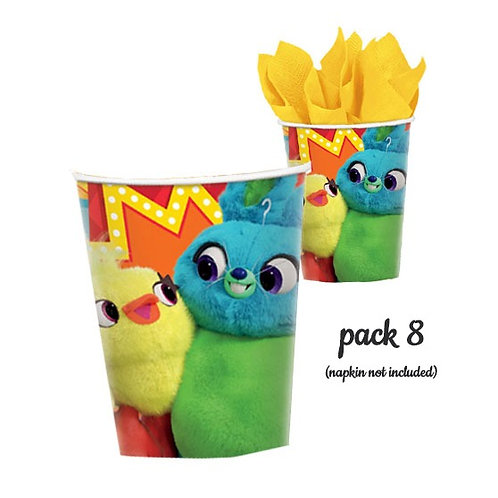 Toy Story 4 party cups pack 8 | Toy Story paper cups | Toy Story 4 Ducky and Bunny Cups