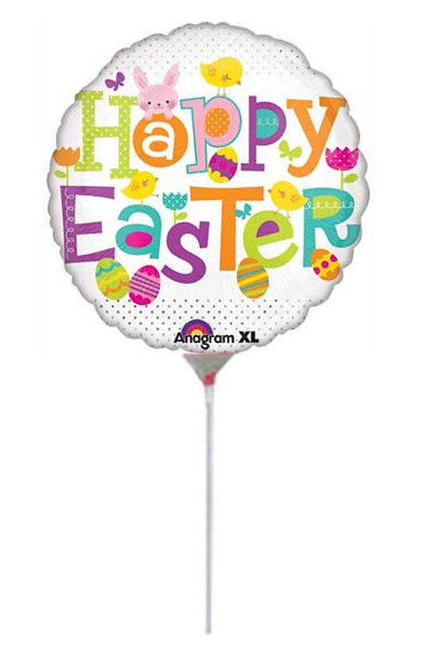 Happy Easter foil balloon on stick round choose
