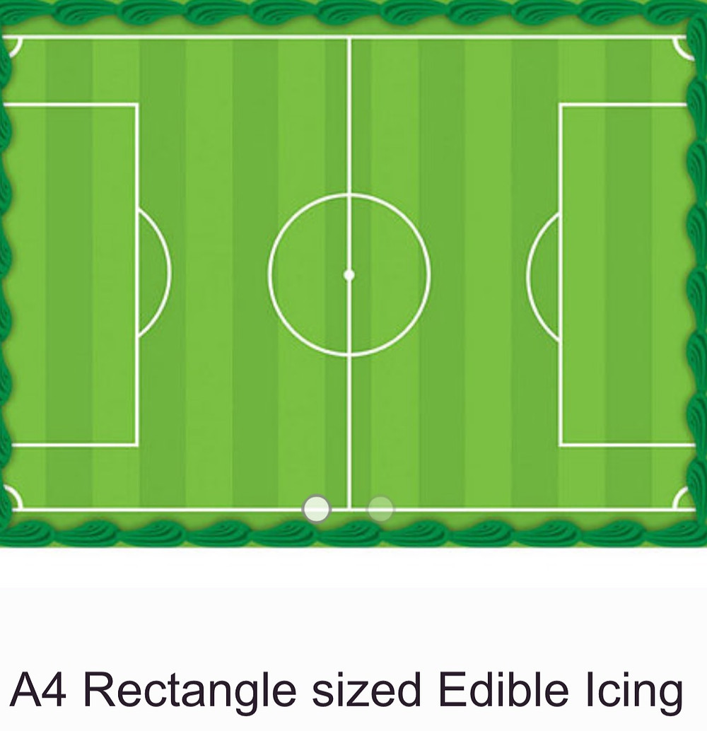 Soccer Pitch Birthday Cake Topper - Edible icing image A4 size printed landscape