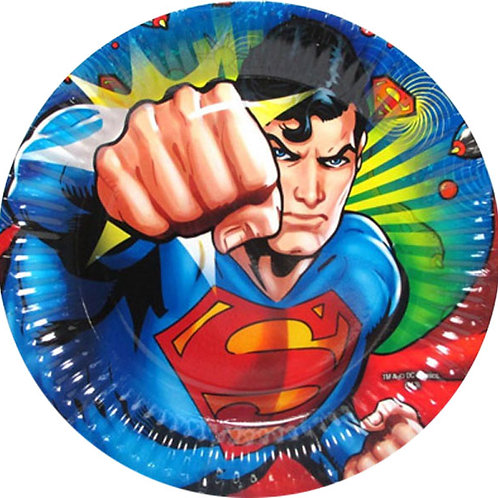 Superman party plates round pack 8
