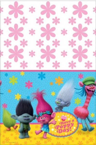 Trolls party disposable plastic tablecover 147 cm x 243 cm