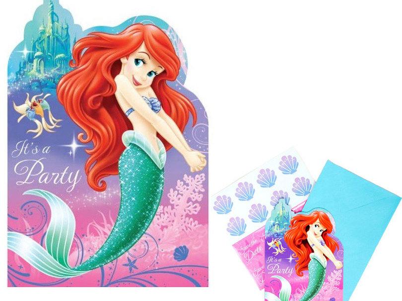 Disney Ariel Little Mermaid Birthday Invites Pk 8
