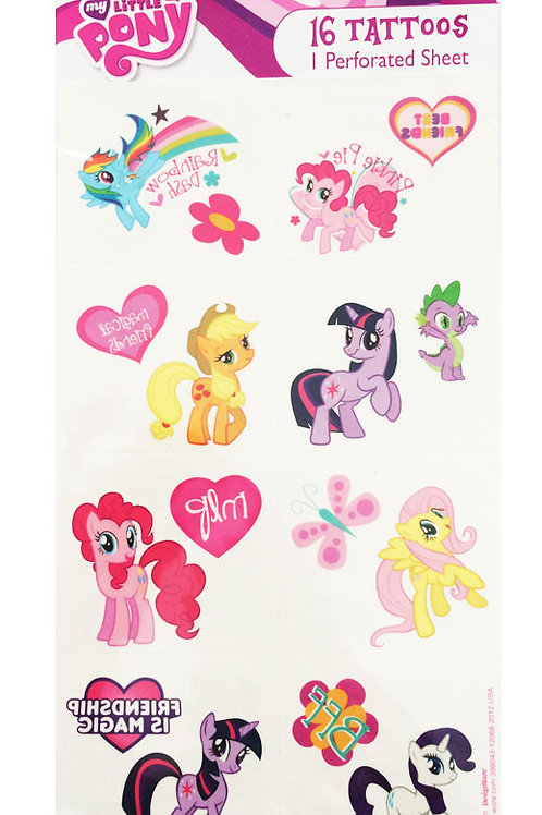 My Little Pony party tattoos 16 girls party favor