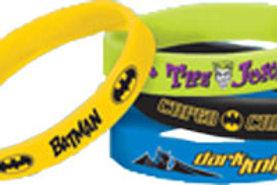 4 Batman rubber wristbands party favors