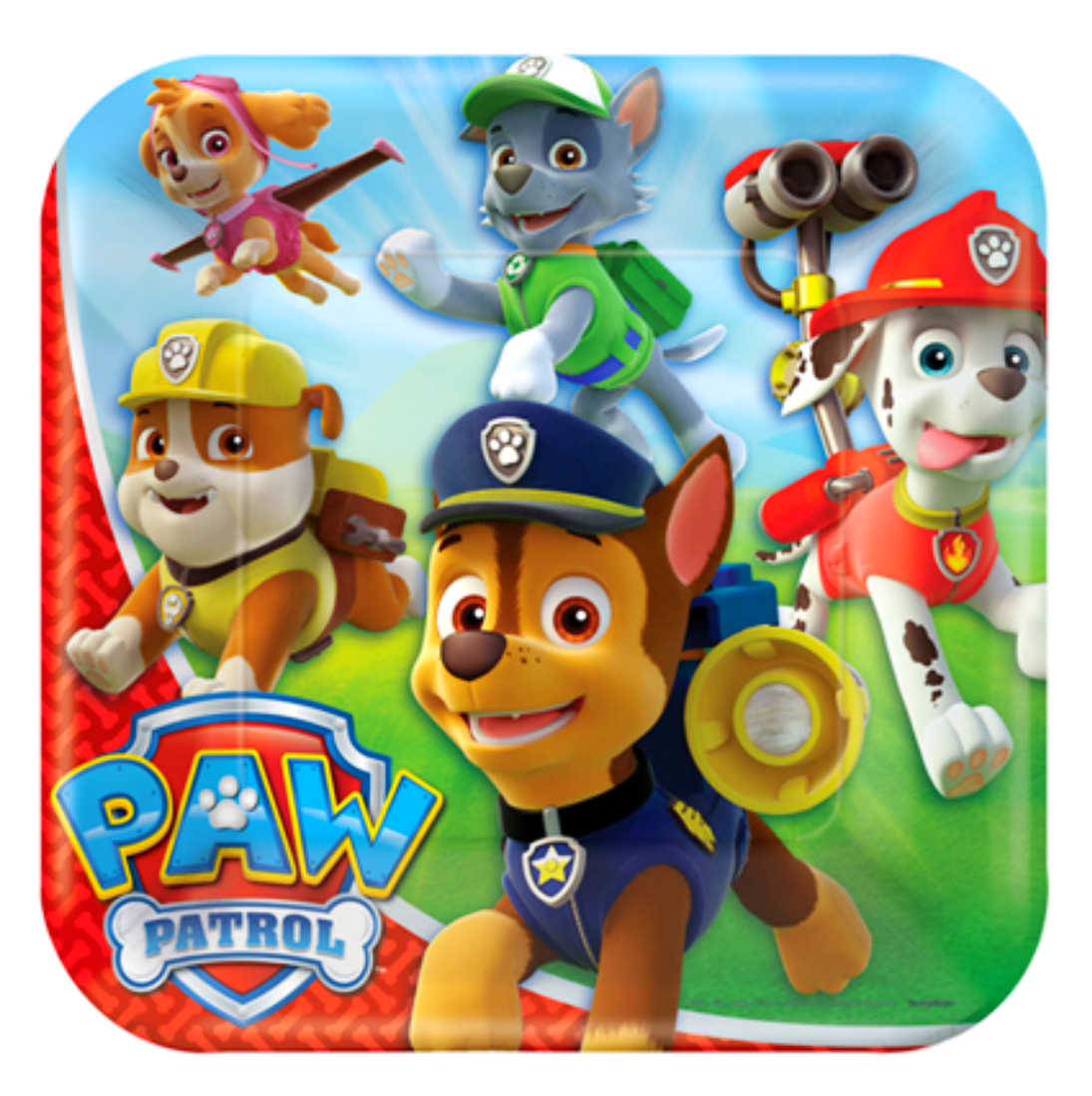 Paw Patrol party plates square lunch size