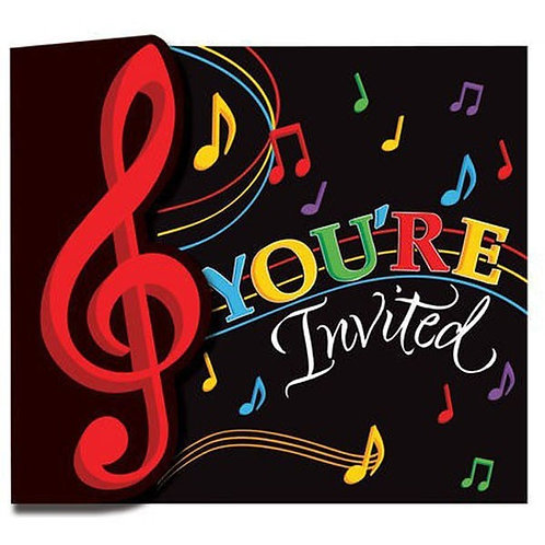 birthday invitations | musical theme birthday invites | music party | 24-7 Party Paks