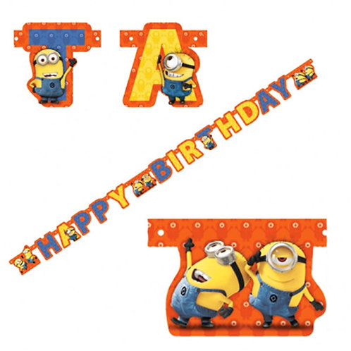 Minion Happy Birthday Jointed Letter Banner wall decoration | 24-7 Party Paks