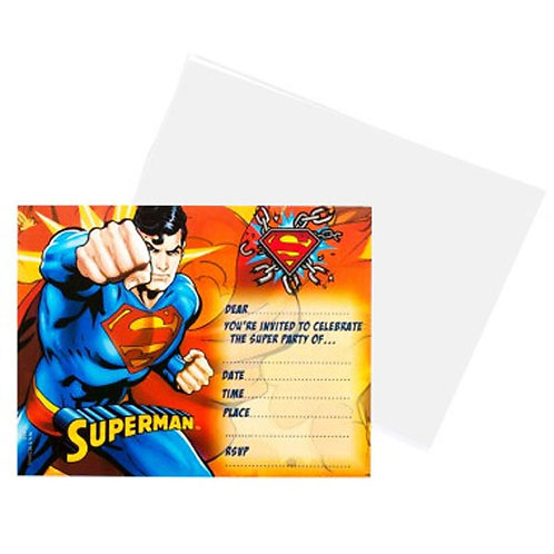 Superman Birthday party invitations pack 8