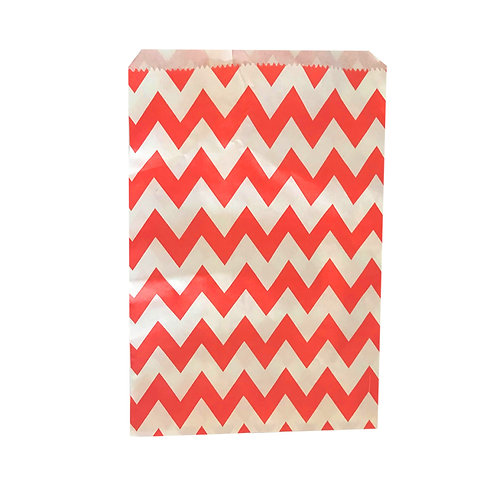 Chevron Pattern Red and White Paper Loot Bags