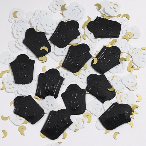 Halloween party confetti scatters skulls tombstone