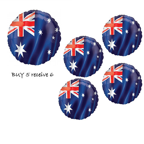 BUY 5 Australia Flag foil balloons and receive 6