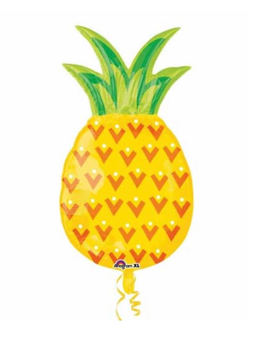 Pineapple shaped foil balloon arrives flat fill with air or helium