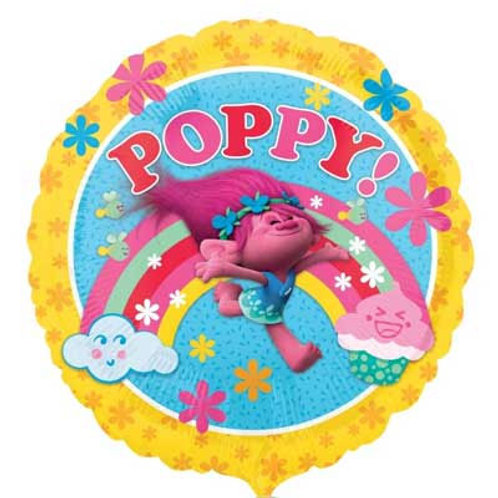 Trolls party foil balloon round 45 cm uninflated