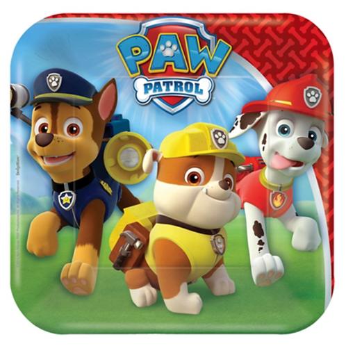 Paw Patrol party plates snack square pack 8