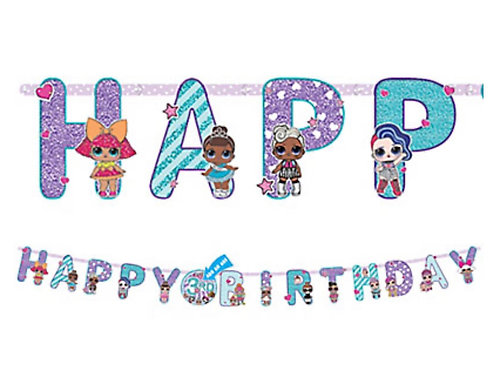 1 x Giant LOL Surprise party birthday banner 3.2 m long - add your childs age