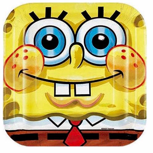 Spongebob Squarepants party plates pack 8 square shape snack size