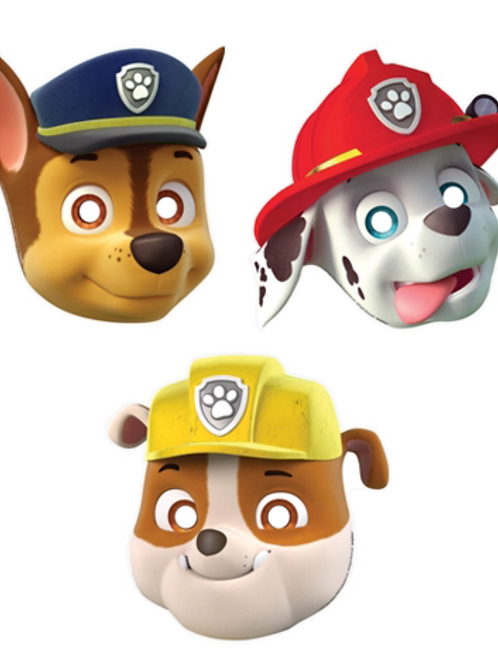 Paw Patrol party costume masks pack 8