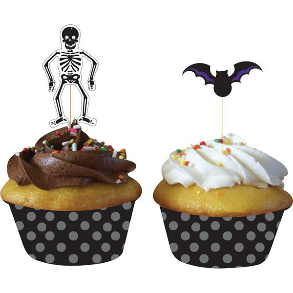 6 Skeleton picks and 6 bat picks with Black and grey spotty cupcake cases muffin bases to decorate your spooky party
