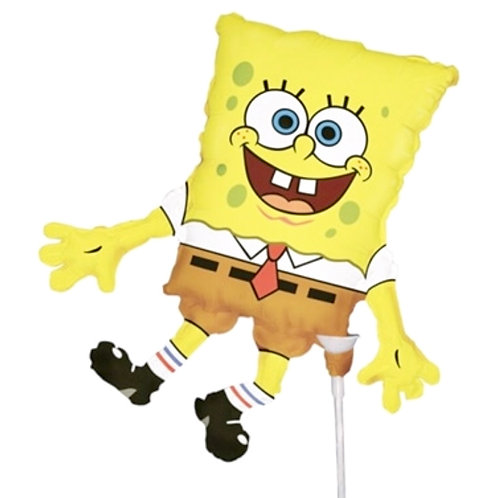 Spongebob Squarepants party foil balloon on stick and cup uninflated