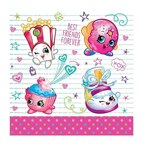 Shopkins party napkins pack 16 disposable paper