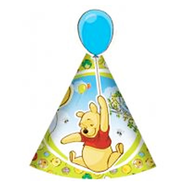 Winnie the Pooh cone style hats with a balloon cutout on the tip
