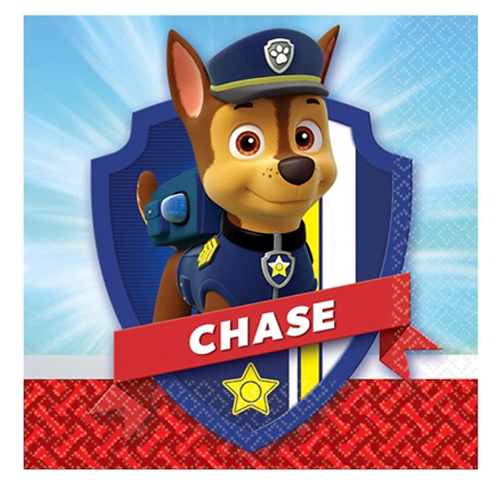 Paw Patrol paper party napkins pack 8 snack size