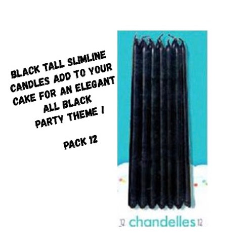 black candles | tall candles | black candles australia | birthday cake decorations | 24-7 Party Paks
