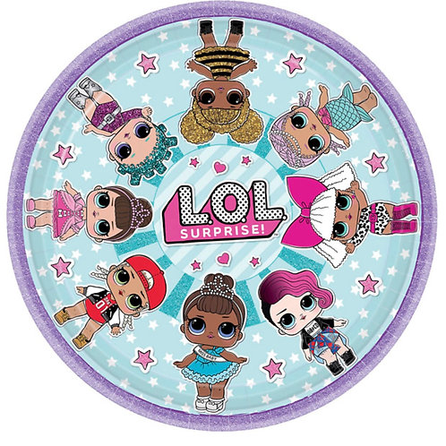 1 x pack of 8 L.O.L. surprise birthday party plates 23 cm- girls parties