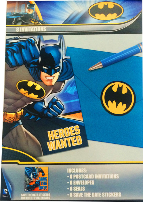 1 X Pack Of 8 Batman Birthday Party Invitations Plus Envelopesseals And Stickers This Invite Kit Includes Postcard Style Invitation Cards