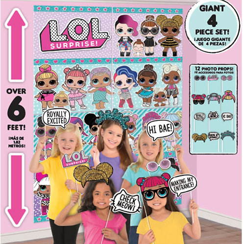 1 x Giant LOL Surprise party birthday scene setter wall decoration plus photo shoot party props