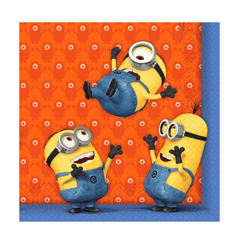 Minions birthday party napkins pack 20 pop them in your children's lunchbox !