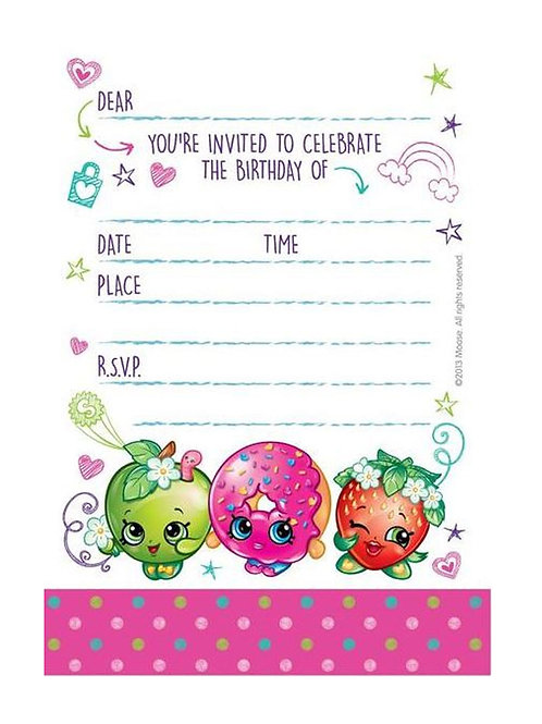 Shopkins birthday party invitations pack 8