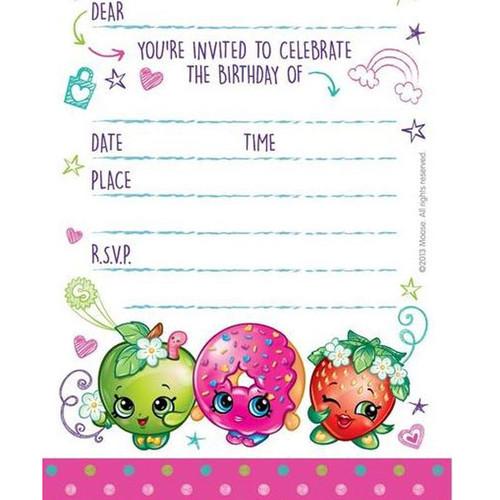Shopkins Birthday Party Invitations Pack 8
