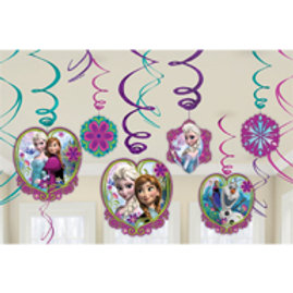 1 x pack of 12 Disney Frozen kids birthday party hanging decorations pack.