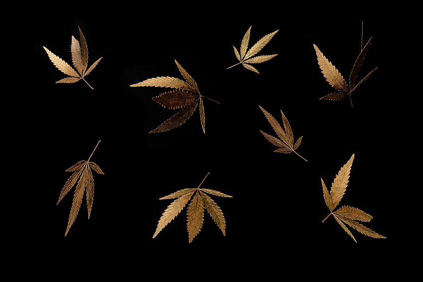 abstract-pattern-golden-leaves-cannabis-