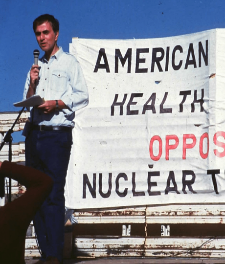 Carl Sagan addresses the American Public Health Association at APHA's 1986 demonstration at the Nevada Test Site