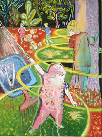 (Sold) Children Playing in the Backyard