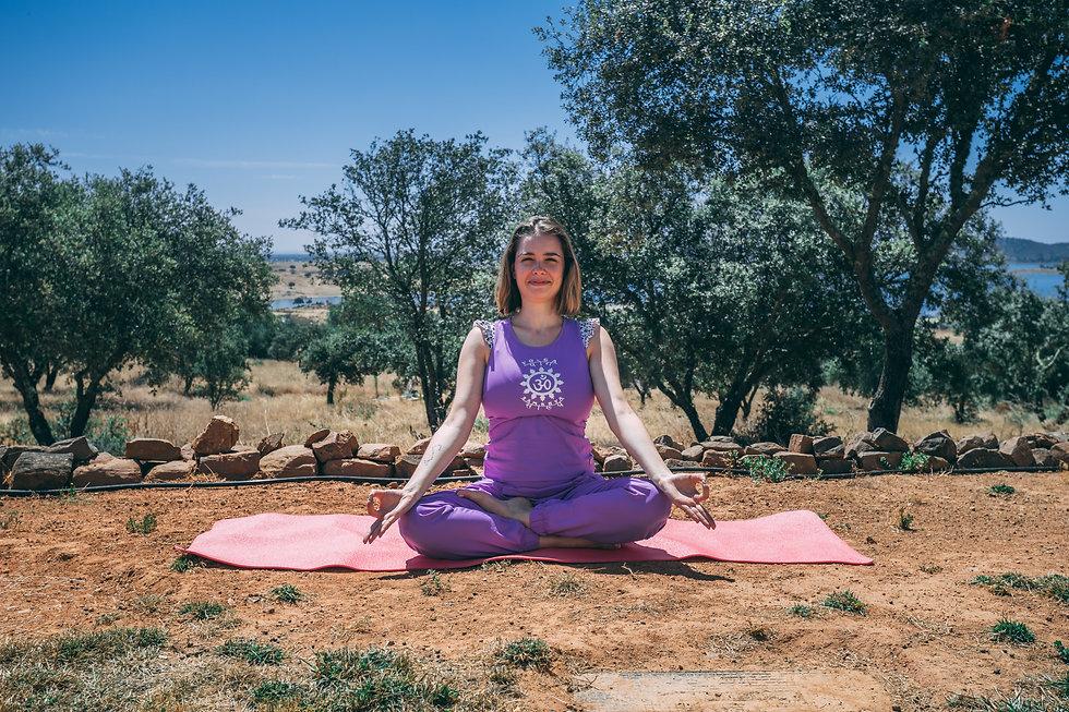 Yogi doing breathwork exercises