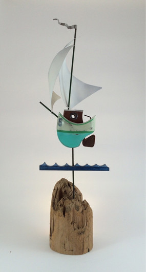 driftwood mounted sailboat