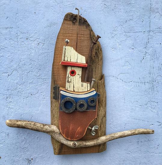 Wall hanging Driftwood tugboat