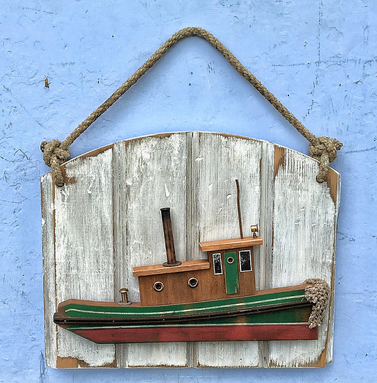 Old time tugboat wall hanging.