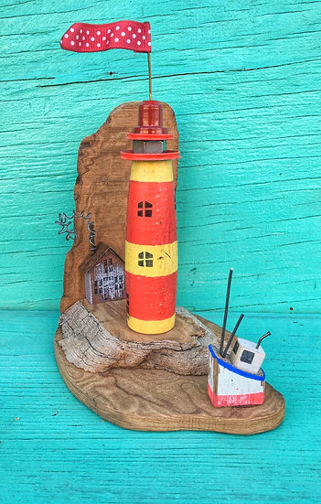 Red and yellow mini lighthouse