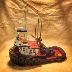 The large #oceanbetty is complete! Scratch built #modeltug made completely from #reclaimedmaterials