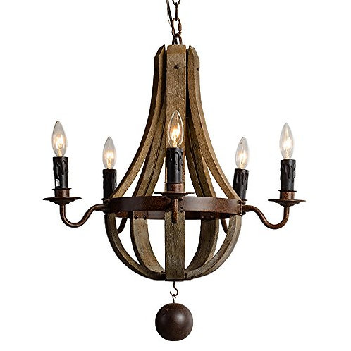 Vintage French Country Wood Metal Wine Barrel Chandelier Pendant 5 Light